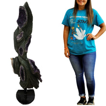 Hand Carved Amethyst Sculpture On 360 Degree Rotating Stand