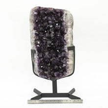 Polished Edge Amethyst Druzy Specimen On Stand
