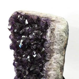 Polished Edge Amethyst Crystal On Black Stand