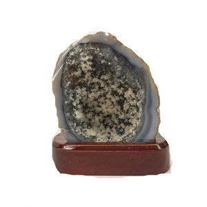 Small Blue Agate Druzy Specimen On Wood Display Stand