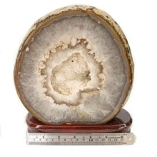 Agate Slice White Druzy On Wood Stand