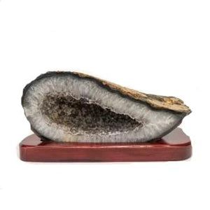Agate With Gray Druzy On Stand