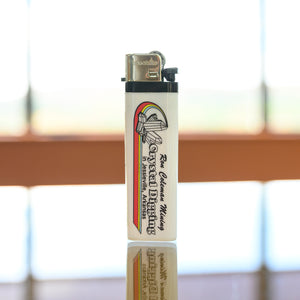 white lighter with Ron Coleman grahics