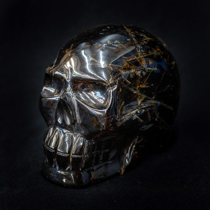 Large Hand Carved Rutilated Quartz Skull