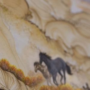 Close Up Wild Horses Painted On Sandstone Wall Art