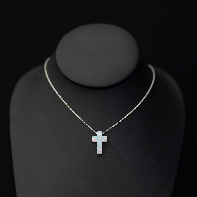 Created Opal Cross On Sterling Chain