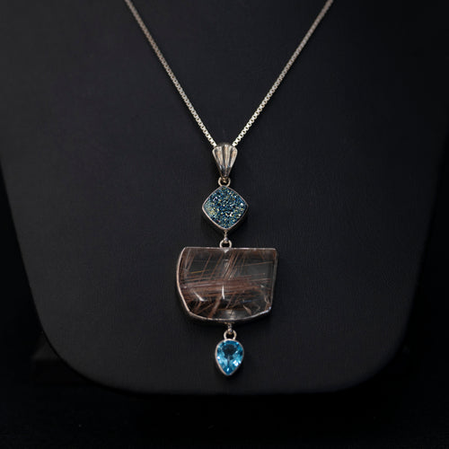 Rutilated Quartz Blue Topaz Blue Druzy Statement Necklace In Sterling Silver