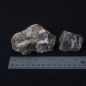 Black Moonstone Specimens With  A Ruler