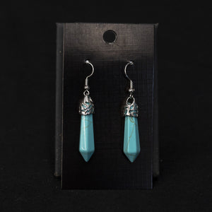Turquoise Points On Sterling French Wire Earrings