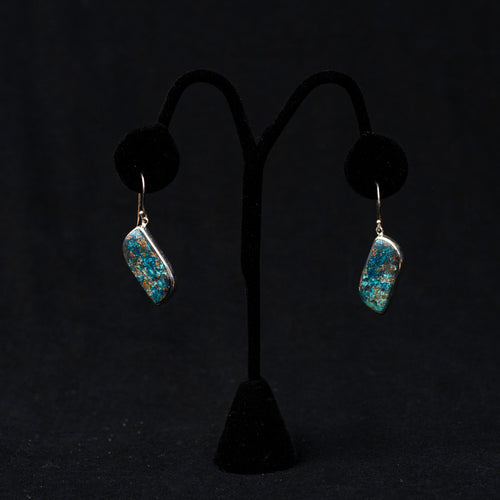 Azurite Drop Earrings Sterling Silver French Wire