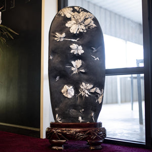 Large Chrysanthemum Stone On Carved Wood Display Stand