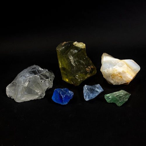 Slag Glass $3.00 Per Pound Yellow, Clear, White, Cobalt Blue, Green Light Blue