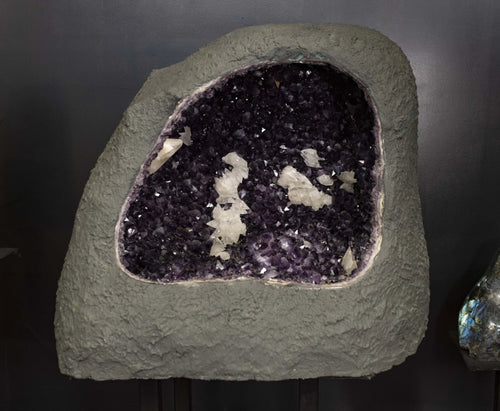 Collector Home Decor Amethyst Druzy Crystal Cavern With Dog Tooth Calcite
