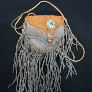 Leather Fringe Pouch Gray