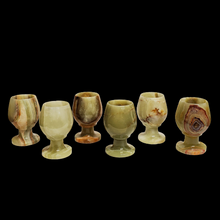 Alternate View Of Various Colors And Patterns In Green Onyx Mini Sherry Glasses