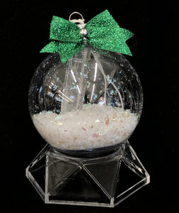 Glass Ornament With Crystal Point And Green Bow