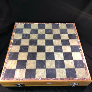 Wooden Box With Soapstone Chess Board And Carved Pieces
