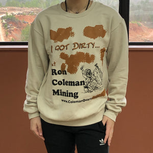 Gold Dirt Graphics And Black Mining Character With Quartz Crystal On Off White Sweat Shirt