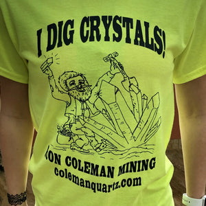 Highlighter Yellow I Dig Crystals Unisex Short Sleeve T Shirt
