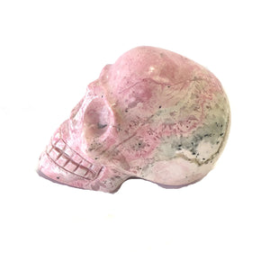Carved Mineral Skull Rhodochrosite Day Of The Dead Decor