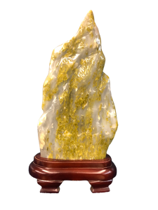 Serpentine Jade Specimen On Wood Stand