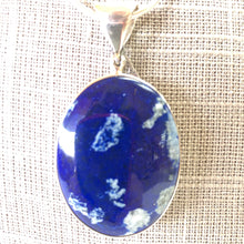 Large Oval Lapis Pendant Solid Silver With Chain Blue Jewelry
