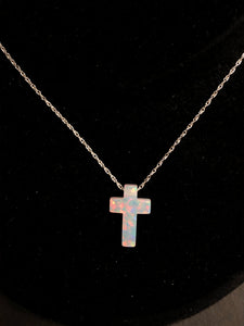 Created Opal Cross On Silver Chain