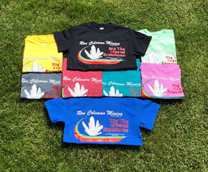 Grouping Of Ron Coleman Mining Souvenir T Shirts In Yellow, Black, Mint Green, Gray, Red, Aqua, Pink and Royal Blue