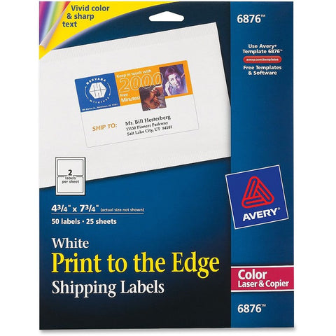 Avery White Print-to-the-Edge Shipping Labels