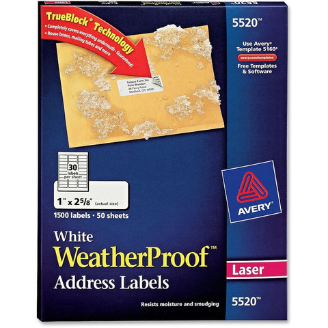 Avery WeatherProof Mailing Labels with TrueBlock Technology