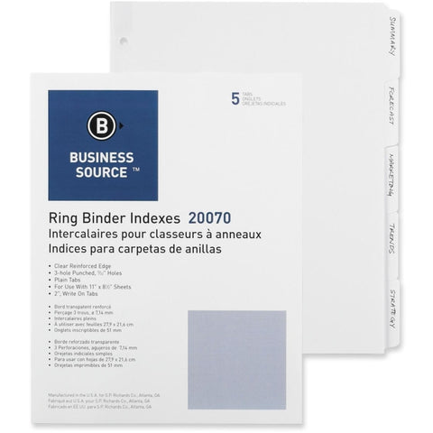 Business Source 3-Ring Plain Tab Indexes