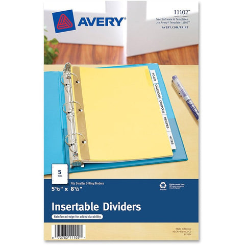 Avery Buff Colored Insertable Dividers - Gold Reinforced