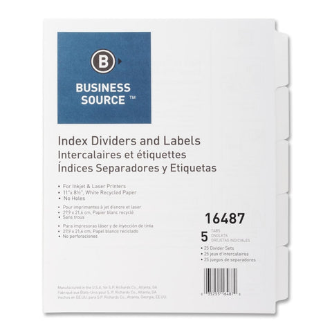 Business Source Customize LaUnpunched Index Dividers Setaser Index Labels with out Holes