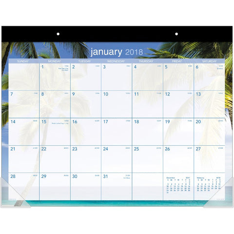 At-A-Glance Tropical Escape Calendar Monthly Desk Pad