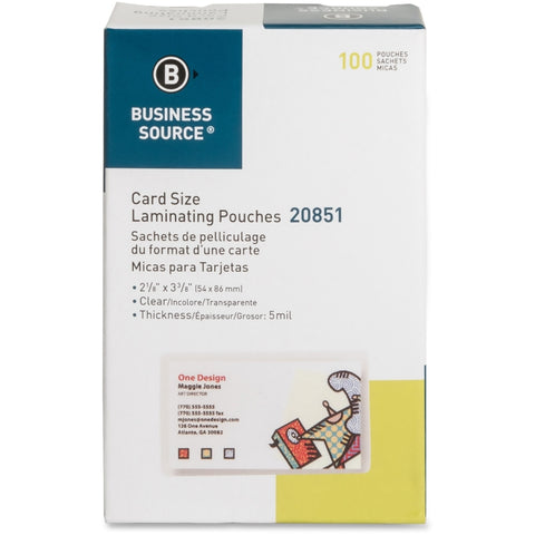 Business Source Clear Laminating Credit Card Pouch