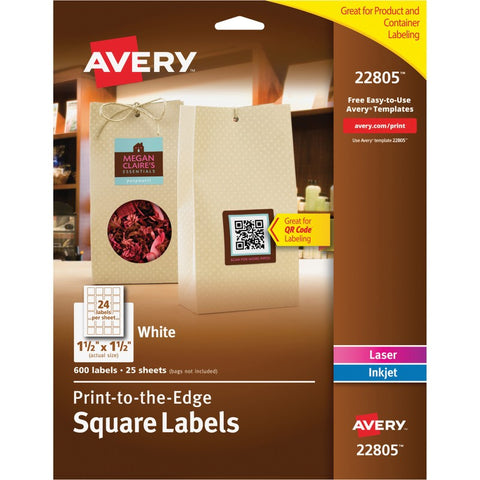 Avery White Print-to-the-Edge Square Labels with TrueBlock Technology