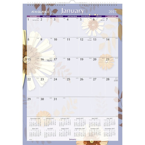 At-A-Glance Paper Flowers Monthly Wall Calendar