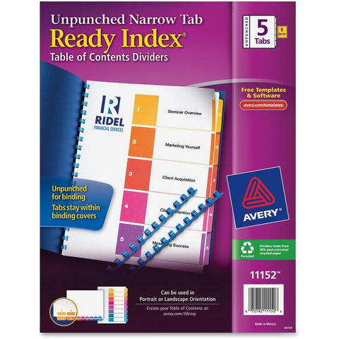 Avery Ready Index Narrow Tab Customizable Table of Contents Dividers - Unpunched