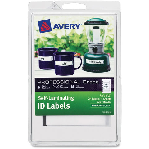 Avery Write-On Durable Self-Laminating ID Labels