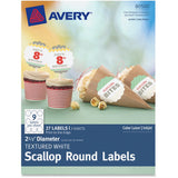 Avery Textured White Print-to-the-Edge Scallop Round Labels