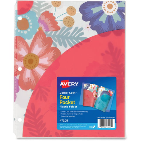 Avery Corner Lock Design Collection Four Pocket Plastic Folders