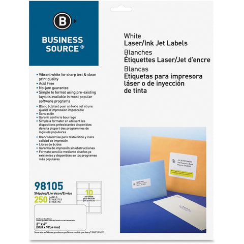 Business Source Bright White Premium-quality Shipping Labels