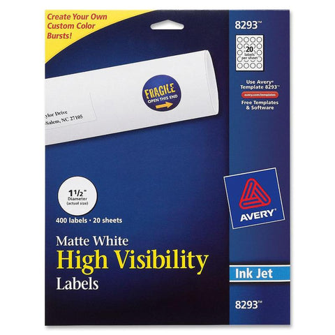 Avery White Round High Visibility Labels
