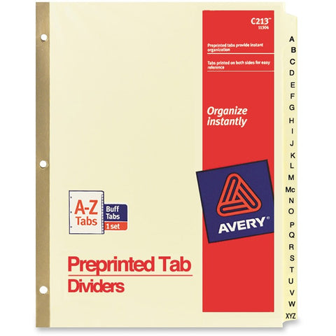 Avery Laminated Pre-printed Tab Dividers - Gold Reinforced