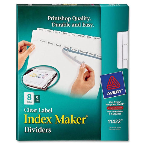 Avery Index Maker Print & Apply Clear Label Dividers with White Tabs for Copiers