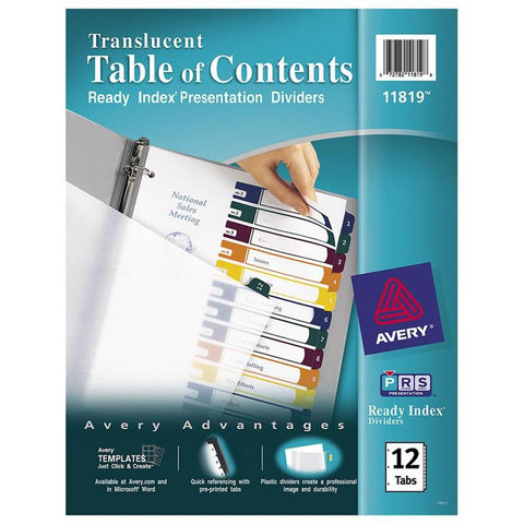 Avery Ready Index Customizable Table of Contents Translucent Dividers