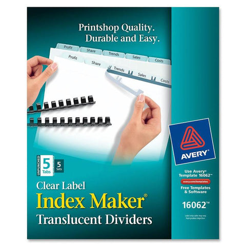 Avery Index Maker Print & Apply Clear Label Plastic Dividers - Unpunched