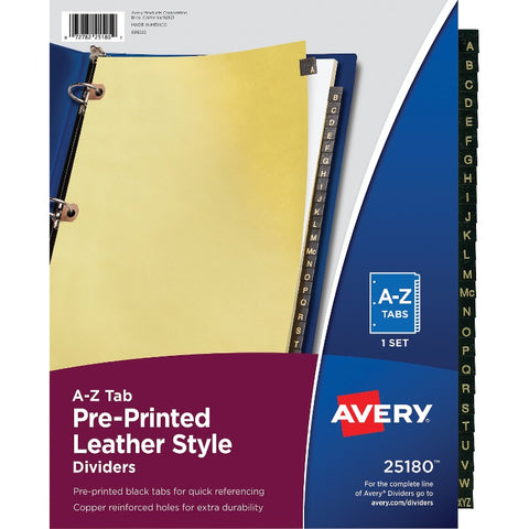 Avery Black Leather Pre-printed Tab Dividers - Copper Reinforced