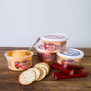 delicious cheese spreads from Nolechek's Meats in Thorp, WI