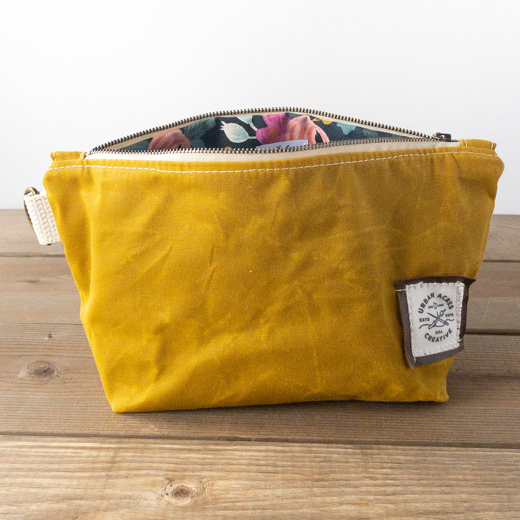 JORDAN - Make Up Bag - Mustard + Navy Floral